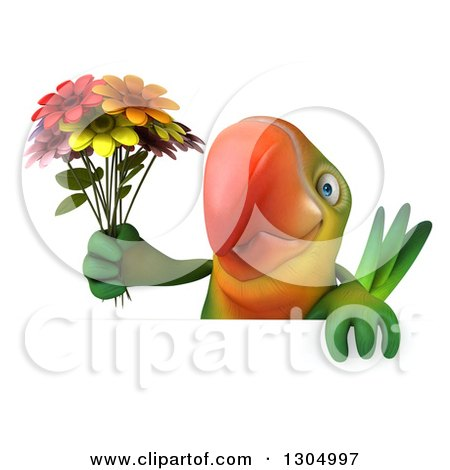 Clipart of a 3d Green Macaw Parrot Holding a Bouquet of Flowers over a Flower - Royalty Free Illustration by Julos