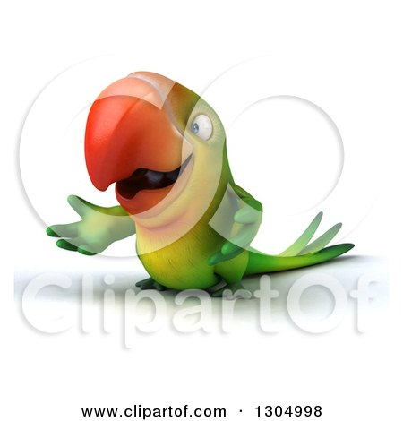 Clipart of a 3d Green Macaw Parrot Presenting - Royalty Free Illustration by Julos