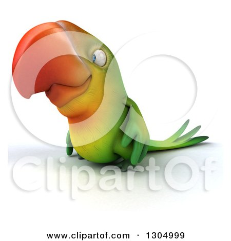 Clipart of a 3d Green Macaw Parrot Facing Left - Royalty Free Illustration by Julos