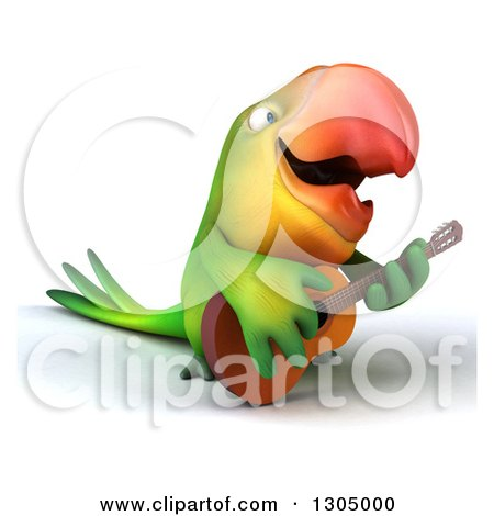 Clipart of a 3d Green Macaw Parrot Facing Right, Playing a Guitar and Singing - Royalty Free Illustration by Julos