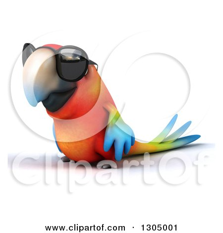 Clipart of a 3d Scarlet Macaw Parrot Wearing Sunglasses and Facing Left - Royalty Free Illustration by Julos