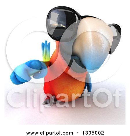 Clipart of a 3d Scarlet Macaw Parrot Wearing Sunglasses and Pointing Outwards - Royalty Free Illustration by Julos