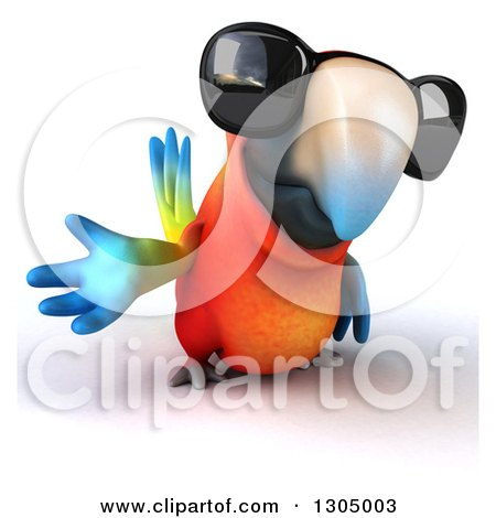 Clipart of a 3d Scarlet Macaw Parrot Wearing Sunglasses and Presenting - Royalty Free Illustration by Julos