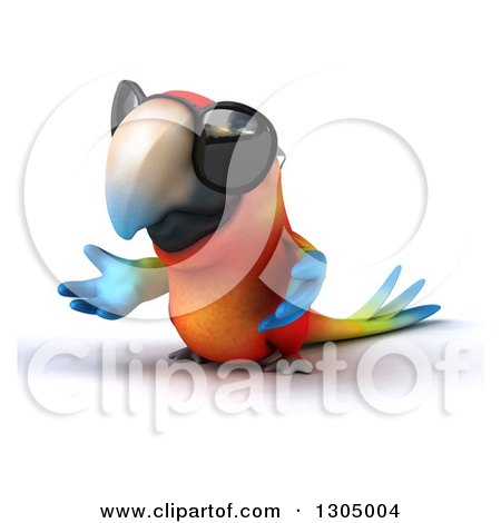 Clipart of a 3d Scarlet Macaw Parrot Wearing Sunglasses and Presenting to the Left - Royalty Free Illustration by Julos