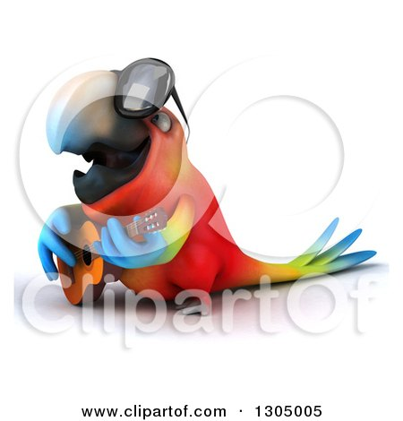 Clipart of a 3d Scarlet Macaw Parrot Wearing Sunglasses, Facing Left and Playing a Guitar - Royalty Free Illustration by Julos