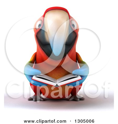 Clipart of a 3d Scarlet Macaw Parrot Reading a Book - Royalty Free Illustration by Julos