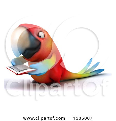 Clipart of a 3d Scarlet Macaw Parrot Facing Left and Reading a Book - Royalty Free Illustration by Julos