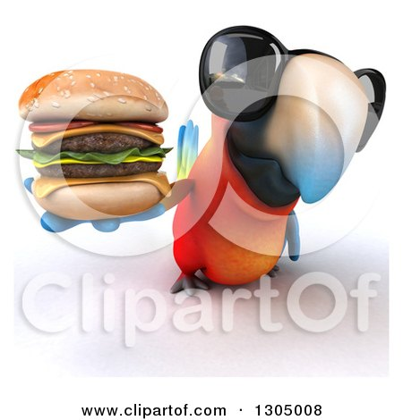 Clipart of a 3d Scarlet Macaw Parrot Wearing Sunglasses and Holding up a Double Cheeseburger - Royalty Free Illustration by Julos