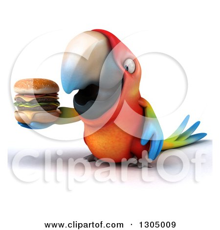 Clipart of a 3d Scarlet Macaw Parrot Holding a Double Cheeseburger - Royalty Free Illustration by Julos