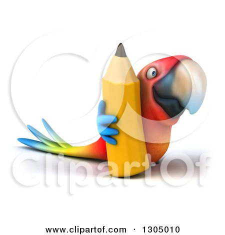 Clipart of a 3d Scarlet Macaw Parrot Facing Right and Holding a Pencil - Royalty Free Illustration by Julos