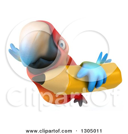 Clipart of a 3d Scarlet Macaw Parrot Flying with a Pencil - Royalty Free Illustration by Julos