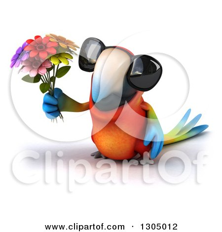Clipart of a 3d Scarlet Macaw Parrot Wearing Sunglasses and Holding up Flowers - Royalty Free Illustration by Julos