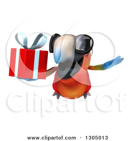 Clipart of a 3d Scarlet Macaw Parrot Wearing Sunglasses and Flying with a Gift - Royalty Free Illustration by Julos