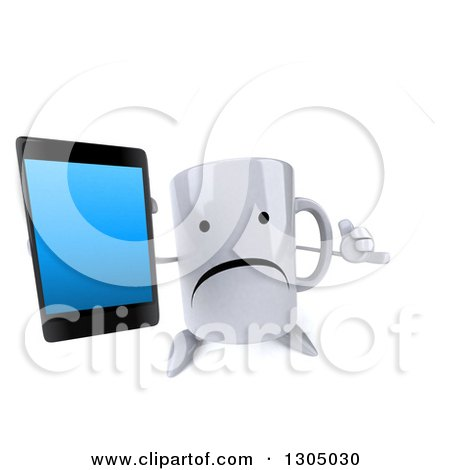 Clipart of a 3d Unhappy Coffee Mug Character Gesturing Call Me and Holding up a Smart Cell Phone - Royalty Free Illustration by Julos