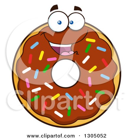 Clipart of a Cartoon Happy Round Chocolate Sprinkled Donut Character - Royalty Free Vector Illustration by Hit Toon