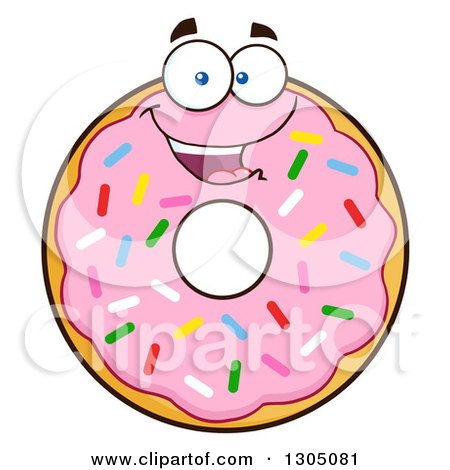 Clipart of a Cartoon Happy Round Pink Sprinkled Donut Character - Royalty Free Vector Illustration by Hit Toon