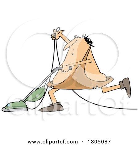 Clipart of a Cartoon Chubby Caveman Vacuuming - Royalty Free Vector Illustration by djart