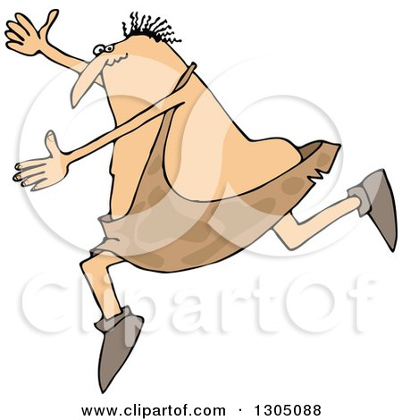 Clipart of a Cartoon Chubby Caveman Falling Forward and Tripping - Royalty Free Vector Illustration by djart