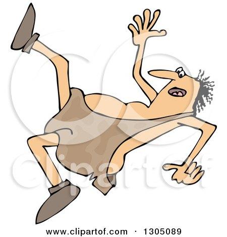 Clipart of a Cartoon Chubby Caveman Falling Backwards - Royalty Free Vector Illustration by djart