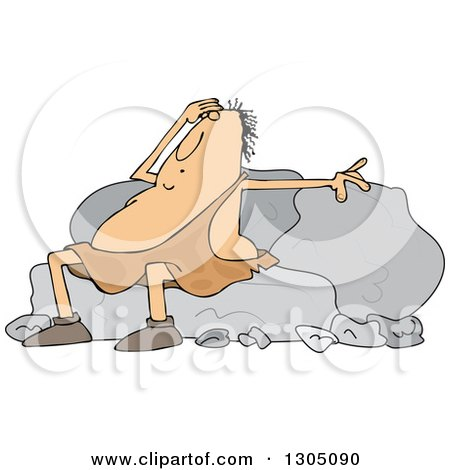Clipart of a Cartoon Tired Chubby Caveman Resting Against Boulders - Royalty Free Vector Illustration by djart