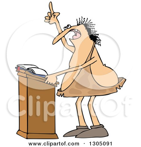 Clipart of a Cartoon Chubby Caveman Giving a Sermon at a Podium - Royalty Free Vector Illustration by djart