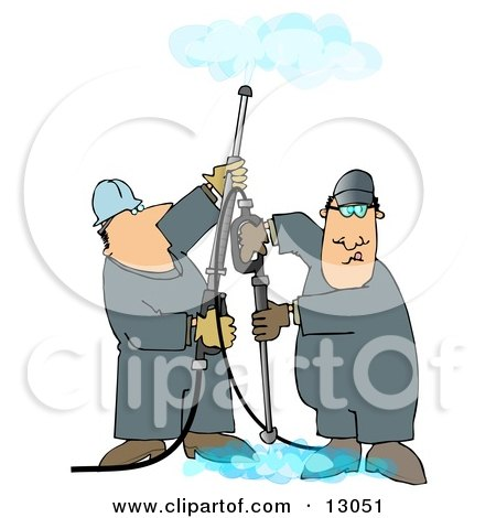 Couple of Men Using Pressure Washers to Clean Ceilings and Floors Clipart Illustration by djart