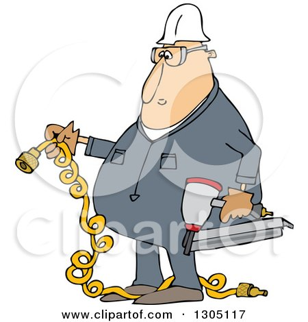 Clipart of a Cartoon Chubby White Male Construction Worker Holding a Nailer and Plug - Royalty Free Vector Illustration by djart