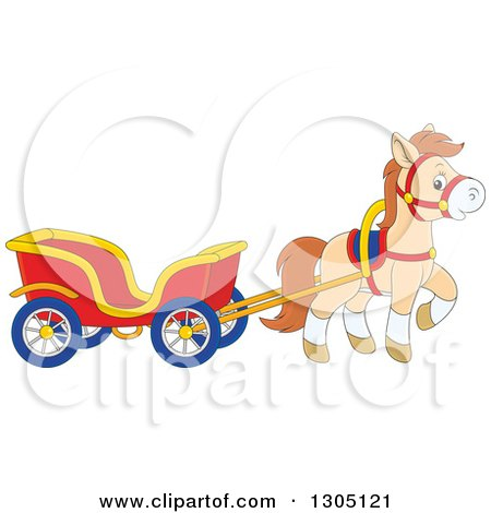 Clipart of a Cartoon Happy Tan Pony Pulling a Carriage - Royalty Free Vector Illustration by Alex Bannykh