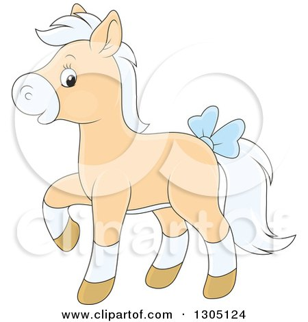 Clipart of a Cartoon Happy Tan and White Horse Pony Walking and Wearing a Blue Bow - Royalty Free Vector Illustration by Alex Bannykh