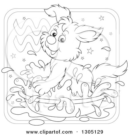 Lineart Clipart of a Cartoon Black and White Playful Splashing Aquarius Astrology Zodiac Puppy Dog Icon - Royalty Free Outline Vector Illustration by Alex Bannykh