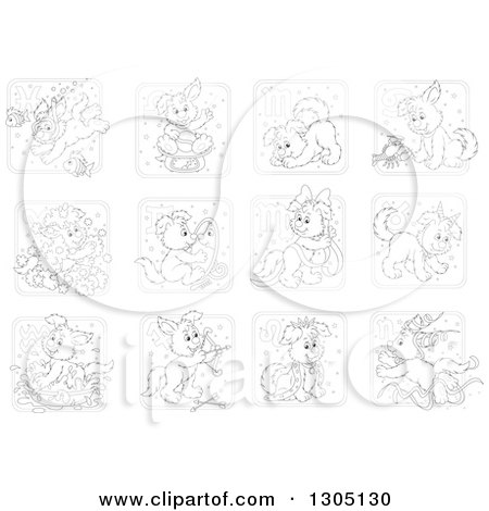 Clipart of Black and White Astrology Zodiac Puppy Dog Icons - Royalty Free Vector Illustration by Alex Bannykh