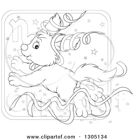 Lineart clipart of a cartoon black and white jumping for Capricorn coloring pages