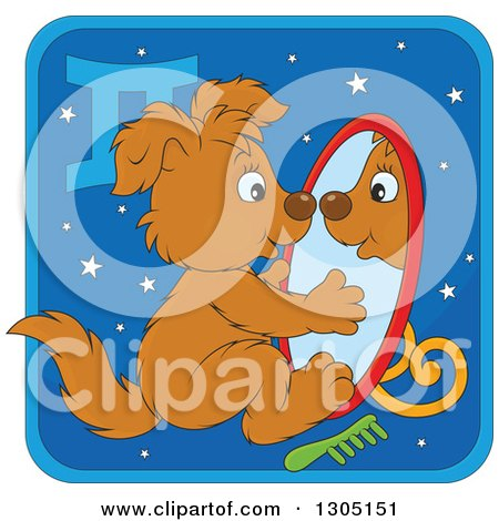Clipart of a Cartoon Gemini Astrology Zodiac Puppy Dog Looking in a Mirror Icon - Royalty Free Vector Illustration by Alex Bannykh
