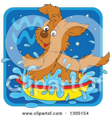 Clipart of a Cartoon Playful Splashing Aquarius Astrology Zodiac Puppy Dog Icon - Royalty Free Vector Illustration by Alex Bannykh