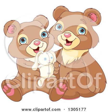 Clipart of Cute Happy Bear Brothers Sitting with a Stuffed Bunny Rabbit - Royalty Free Vector Illustration by Pushkin