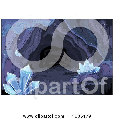 Clipart of a Dark Cave with Crystals - Royalty Free Vector Illustration by Pushkin