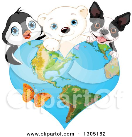 Clipart of a Cute Polar Bear Cub, Penguin and a French Dog or Boston Terrier over a Heart Shaped Earth with a Butterfly - Royalty Free Vector Illustration by Pushkin