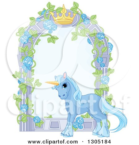 Clipart of a Magical Sparkly Blue Unicorn by a Garden Arbor with a Crown - Royalty Free Vector Illustration by Pushkin