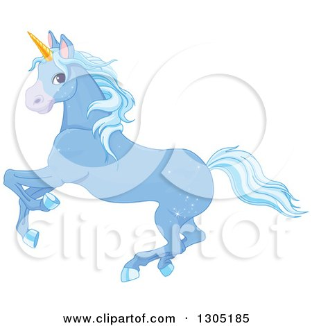Clipart of a Magical Sparkly Blue Unicorn Running to the Left - Royalty Free Vector Illustration by Pushkin