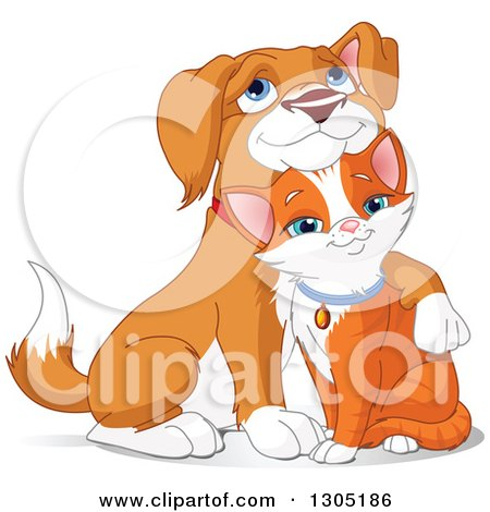 Clipart of a Cute Beagle Puppy Resting His Head on a Ginger Cat's Head - Royalty Free Vector Illustration by Pushkin