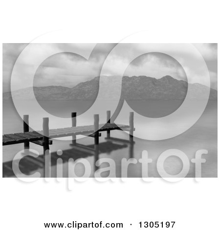 Clipart of a Grayscale Dock or Jetty on a Lake - Royalty Free Illustration by KJ Pargeter
