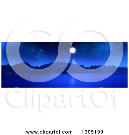 Clipart of a 3d Panoramic Landscape of a Full Moon over a Lake or Bay at Night - Royalty Free Illustration by KJ Pargeter