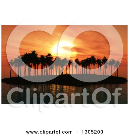 Clipart of a 3d Silhouetted Palm Tree Island Against an Orange Sunset - Royalty Free Illustration by KJ Pargeter