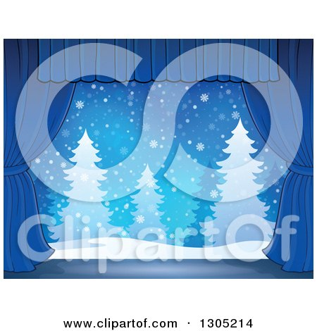 Clipart of a Stage Setting of a Snowy Winter Landscape and Evergreen Trees Framed with Blue Drapes - Royalty Free Vector Illustration by visekart