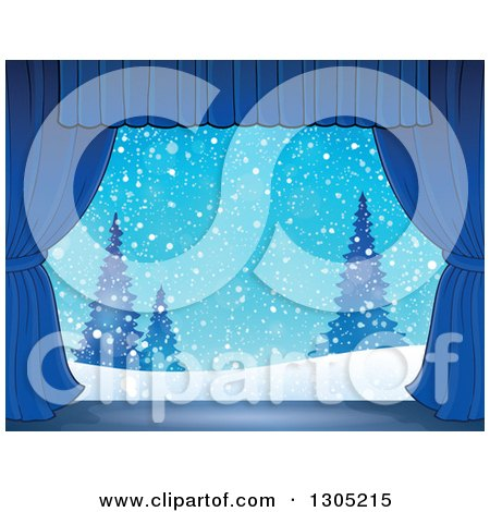Clipart of a Stage Setting of a Snowy Winter Landscape and Evergreens Framed with Blue Drapes - Royalty Free Vector Illustration by visekart