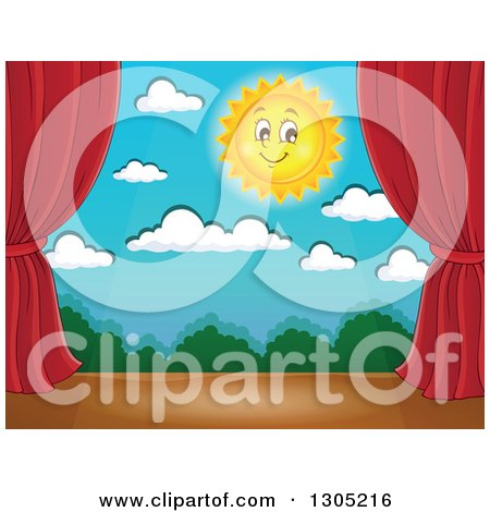 Clipart of a Stage Setting of a Happy Sun, Clouds and Shrubs Framed with Red Drapes - Royalty Free Vector Illustration by visekart