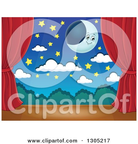 Clipart of a Stage Setting of a Moon, Stars and Clouds Framed with Red Drapes - Royalty Free Vector Illustration by visekart