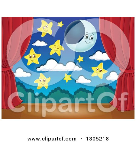 Clipart of a Stage Setting of a Moon, Happy Stars and Clouds Framed with Red Drapes - Royalty Free Vector Illustration by visekart