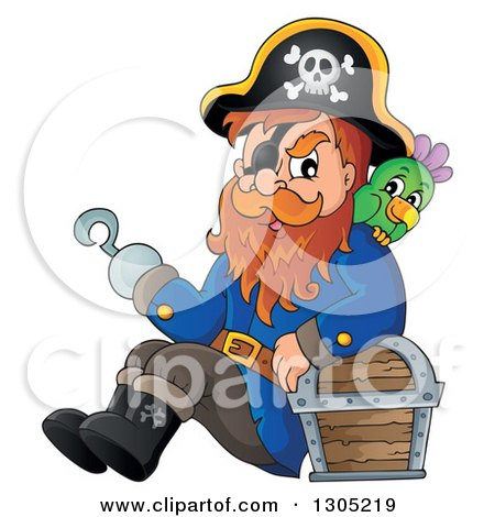 Clipart Of A Cartoon Pirate Captain Sitting Leaning Against A Treasure Chest With A Parrot And Presenting With A Hook Hand Royalty Free Vector Illustration
