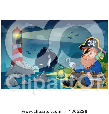 Clipart of a Cartoon Pirate Captain with a Treasure Chest and Parrot Sitting on a Beach with a Lighthouse and Ship in the Background - Royalty Free Vector Illustration by visekart